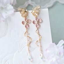 MENGJIQIAO gorąca sprzedaż elegancka z dziurką cyrkonia motyl spadek kolczyki dla kobiet moda Metal różowy kwiat Pendientes akcesoria tanie tanio Ze stopu cynku CN (pochodzenie) TRENDY kolczyki wiszące Zwierząt Rhinestone Kobiety