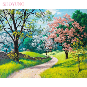 SDOYUNO DIY painting by number kit for adults frame oil Cherry blossoms landscape art HandPainted Home Decor Gift Canvas Drawing