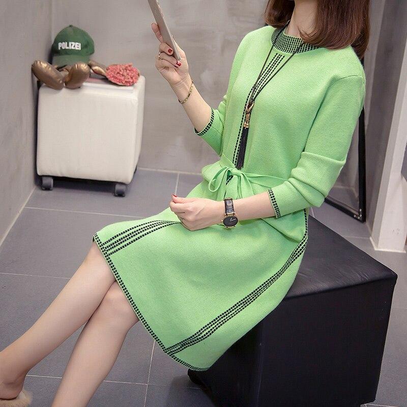 Женское платье-свитер с длинным рукавом, женское повседневное осенне-зимнее платье, женский свитер с круглым вырезом, вязаные платья больши...