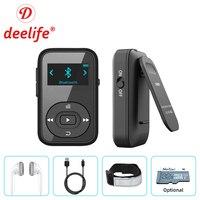 Deelife Running lettore MP3 con Bluetooth Mini Clip Armband Radio 8GB HiFi Music MP 3 lettori per lo sport