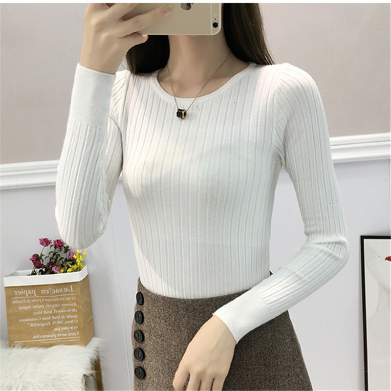 Casual O-Neck Slim Solid All Match Fashion Warm Knitted Sweater Pullover Autumn Knitwear Sueter Mujer Long Sleeve Women New 2019