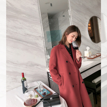 2019  Women Autumn Winter Coat Women Wide Lapel Pocket Wool Blend Coat