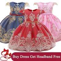 Vestido de fiesta de cumpleaños para niña, Vestido de bautizo para niña, Vestido Infantil bordado de Navidad, 1 año