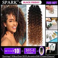 Spark Hair 1/3/4 Bundles Ombre Brazilian Afro Kinky Curly Human Hair Extensions 100% Remy Human Hair Weaves Bundles Medium Ratio