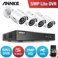 ANNKE 8CH 2MP FHD Video Surveillance System 5in1 H.265+ 5MP Lite DVR With 4PCS 1080P Outdoor Weatherproof Security Cameras CCTV