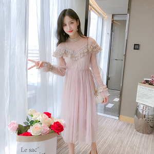 Image 5 - New 2019 Spring Autumn Women dress Flare Sleeve Patchwork Mesh Turtleneck Half A High end French Lace Dresses Blue Apricot 9086