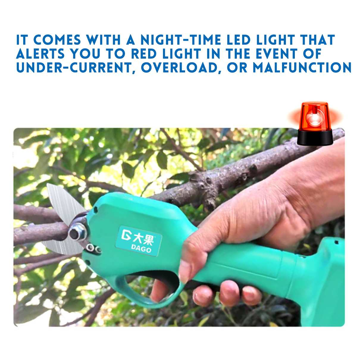 21V Wireless and Rechargeable Electric Garden Scissors for Pruning Branches with 30mm Maximum Cutting and 2 Li-ion Battery 9