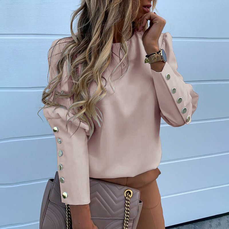 2020 рабочая одежда, женские блузки, длинный рукав, задняя Металлическая пуговица, Повседневная рубашка с круглым вырезом, одноцветные топы р...