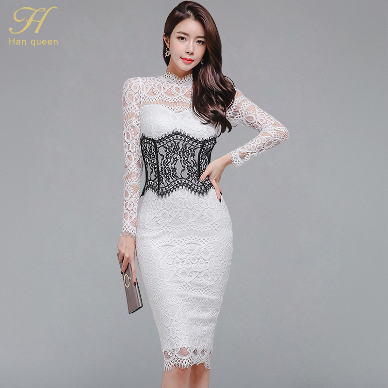 H Han Queen Sexy Lace Patchwork Stand Collar Sheath Dress Women 2019 Autumn Office Hollow Out See Through Pencil Bodycon Dresses