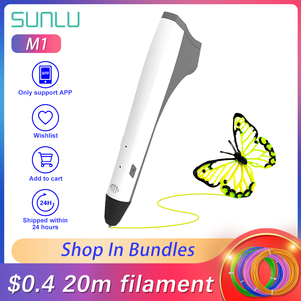 SUNLU 3D Printing Pen M1 Support PCL PLA Filament 1.75mm 20rolls/5m Low Temperature 3D Drawing Pen For Children Scribble DIY