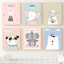 Rabbit Sheep Polar Bear Panda Cartoon Wall Art Print Canvas Painting Nordic Posters And Prints Pictures Kids Room