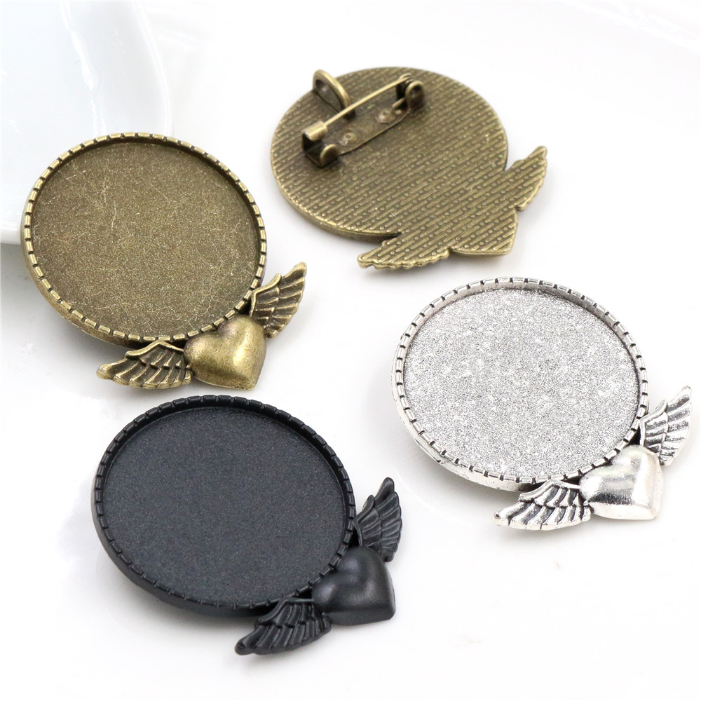 5pcs 30mm Inner Size Antique Bronze Antique Silver Black Heart Wing Brooch Style Cabochon Base Setting Charms Pendant