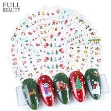 44 sztuk boże narodzenie paznokci naklejka artystyczna woda zima suwak naklejka ze świętym mikołajem łosiem kot śnieżynka folie do Manicure nowy rok DIY zestaw CHNJ004 1