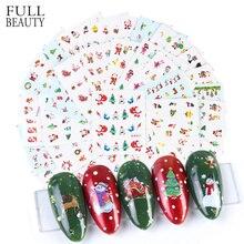 Pegatinas de Navidad para uñas, calcomanías deslizantes de invierno, calcomanías de copos de nieve de gato de Santa Elk para manicura, juego DIY de CHNJ004 1, 44 Uds.