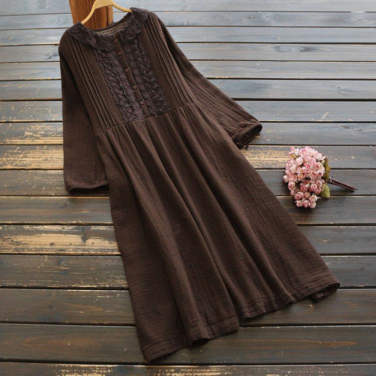 Винтажное кружевное платье с воротником Питер Пэн, Хлопковое платье с длинными рукавами и цветочным рисунком, весна 2020|Платья|   | АлиЭкспресс