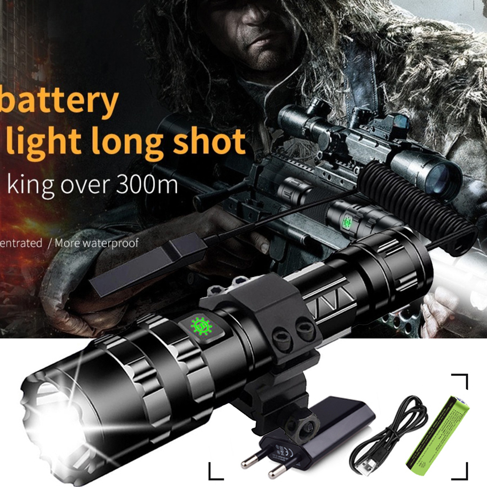 TACTICAL LED FLASHLIGHT HIGH POWER TORCH HUNTING LIGHT Scout Light USB BY 18650 RECHARGEABLE BATTERY 2M WATERPROOF