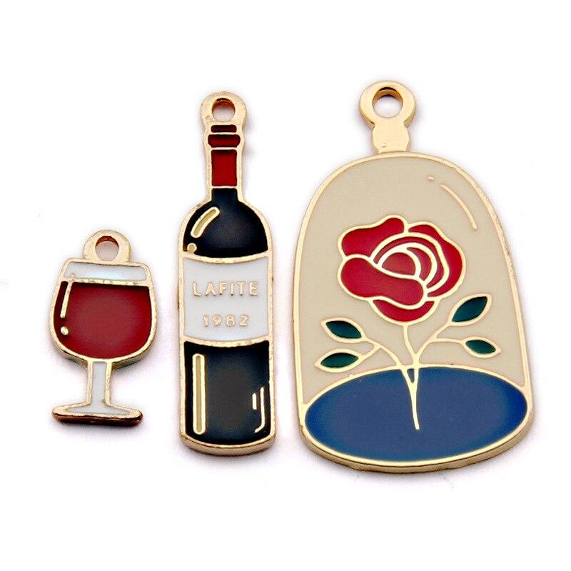 10 sztuk lampka do czerwonego wina napój emalia Charms wisiorek metalowy kolczyk DIY moda wisiorek ze stopu cynku do tworzenia biżuterii