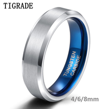 Tigrade 4/6/8mm Classic Wedding Band Engagement Rings Silver Blue Custom Engraving Tungsten Carbide For Women Men Size4-14