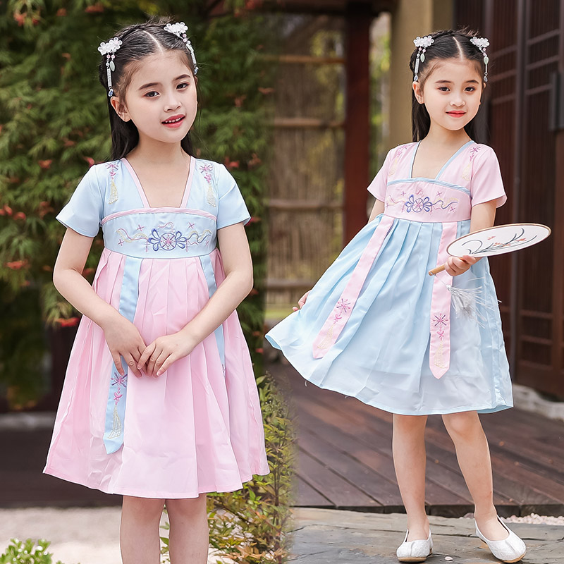 Girls Hanfu Classical Dance Costume Reform Embroidery Fairy Dress Folk Festival Outfit Child Stage Performance Clothes DF1270