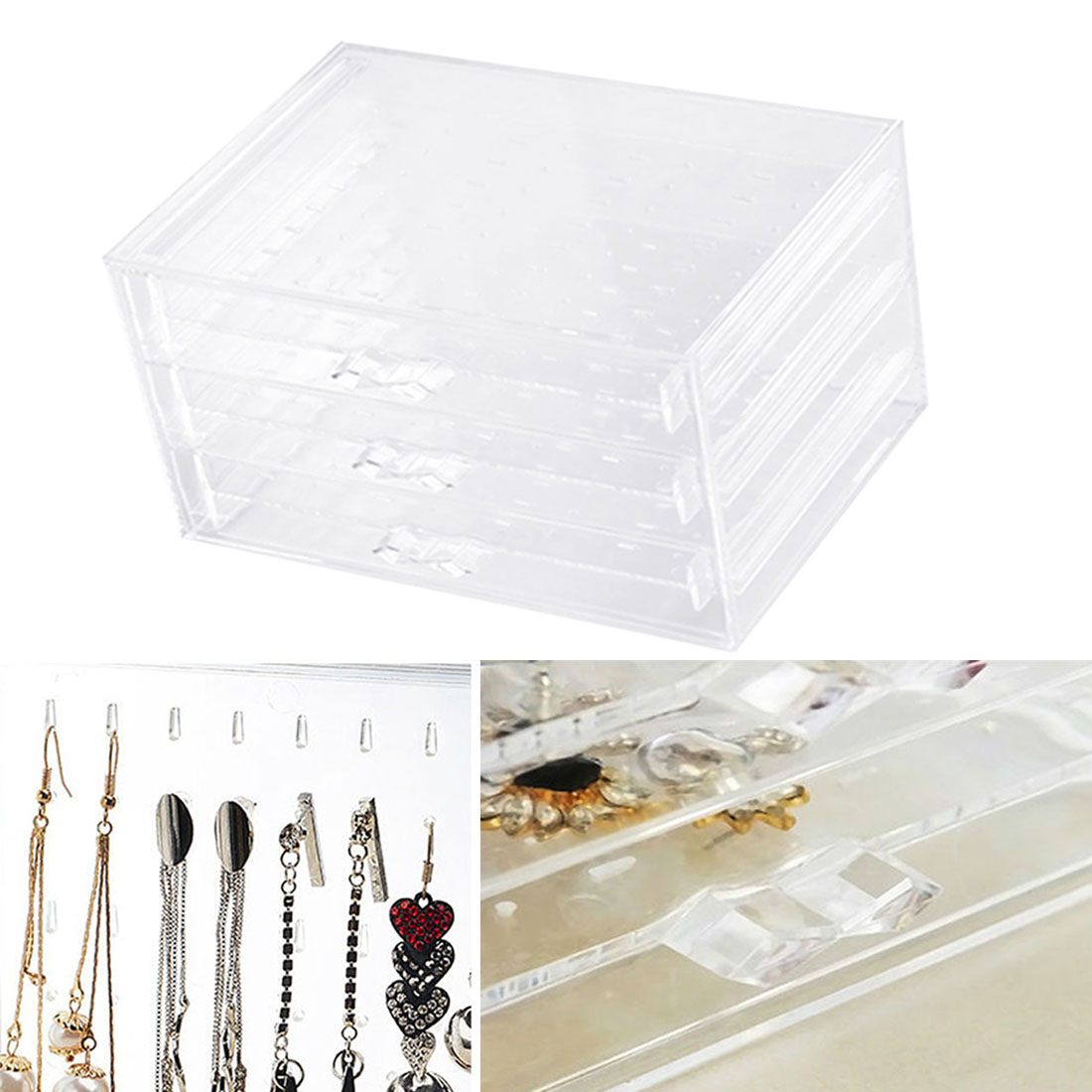 Earring box transparent Finishing earrings necklace storage cosmetic bracelet storage box Plastic jewelry dustproof rack in Jewelry Packaging Display from Jewelry Accessories