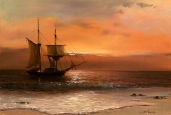 Handmade Seascape Oil Painting Sea Sailing Boat Canvas Wall Art for Living room Bedroom Home décor