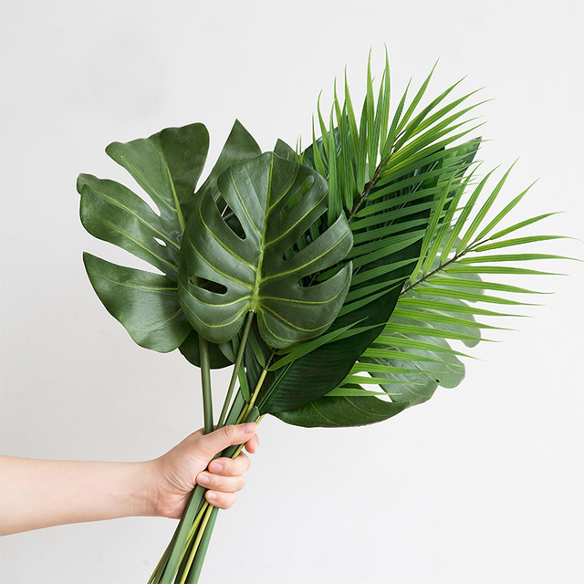 One Piece monstera artificial plants plastic tropical palm tree leaves home garden decoration accessories Photography Decorative 1
