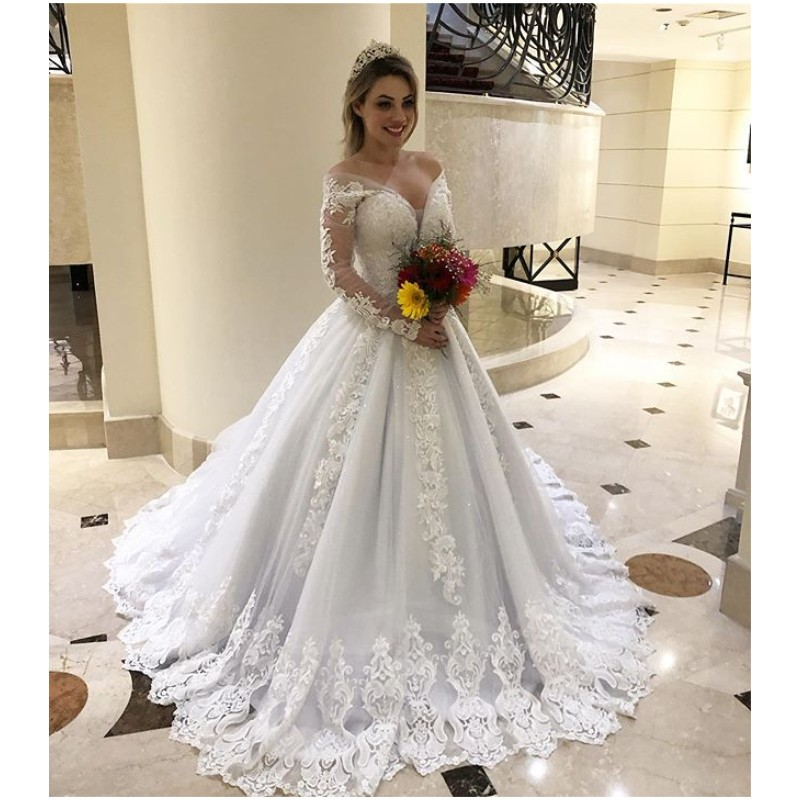 Jieruize Elegant Beaded Wedding Dresses Long Sleeves Off Shoulder Lace Appliques Back Lace Up Ball Gown Custom Made Bridal Gowns