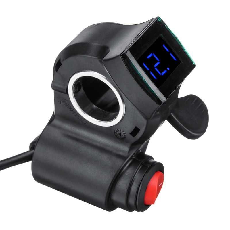 Electric Vehicle Voltage Display Switch Handle Finger Thumb Throttle Scooter With Power LED Display Handlebar Grips For E-bike