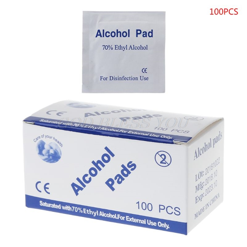 100Pcs Alcohol Wet Wipe Disposable Disinfection Prep Swap Pad Antiseptic Skin Cleaning Care Jewelry Mobile Phone Clean Wipe