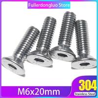 Fullerkreg 18-8 Stainless Steel Hex Drive Flat Head Screw M6 x 1 mm Thread, 20 mm Long,Packs of 25 (M6x20mm)