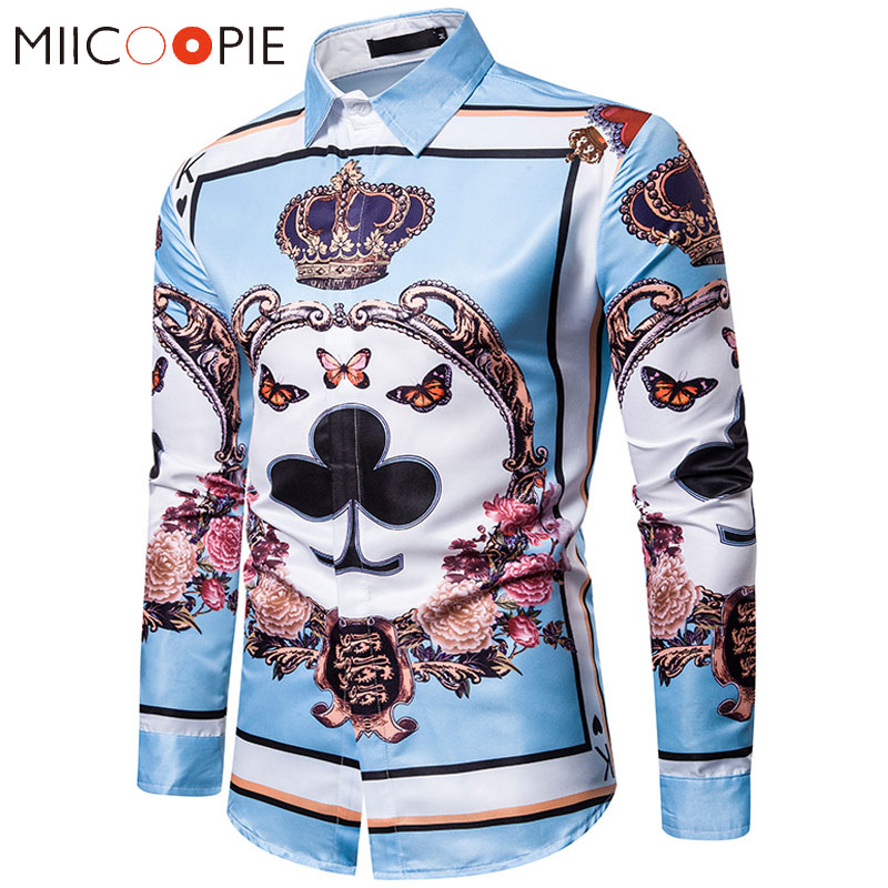 Luxury Royal Mens Shirts Poker Crown Print Slim Fit Long Sleeve Floral Shirts Men Dress Business Camisa Social Streetwear M-3XL