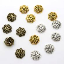 100pc 14mm Flower Spacer Loose Metal End Bead Caps For Jewelry Making Bracelet Necklace Diy Finding Accessories Wholesale Supply(China)