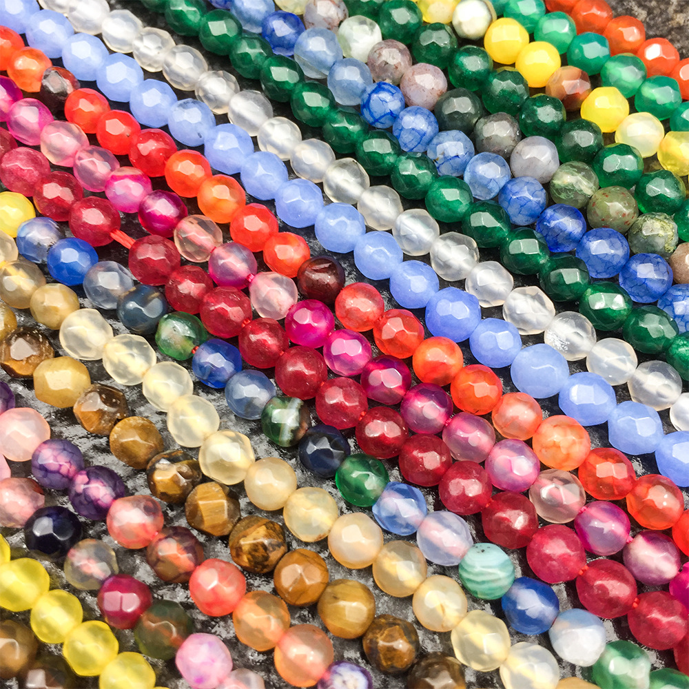 Natural Stone Faceted Beads Loose Beads Crystal Agate String Bead For Jewelry Making DIY Bracelet Necklace Accessories Size 4mm