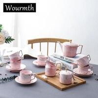 Wourmth Fashion Мраморный Кофейный Набор Фарфоровый Чайный Сервиз Керамический Чайник Creamer Сахарница Кофейная Чашка Люкс 15 шт. Набор посуды Подаро