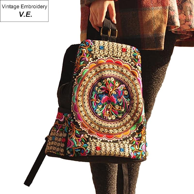 Vintage Embroidery Ethnic Backpack Women Handmade Flower Embroidered Bag Travel Bags Schoolbag Backpacks Mochila