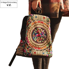 Vintage Embroidery Ethnic backpack women handmade flower Embroidered Bag Travel Bags schoolbag backpacks mochila new listing classic red embroidered ethnic bags brand canvas handmade pompon women shoulder bags