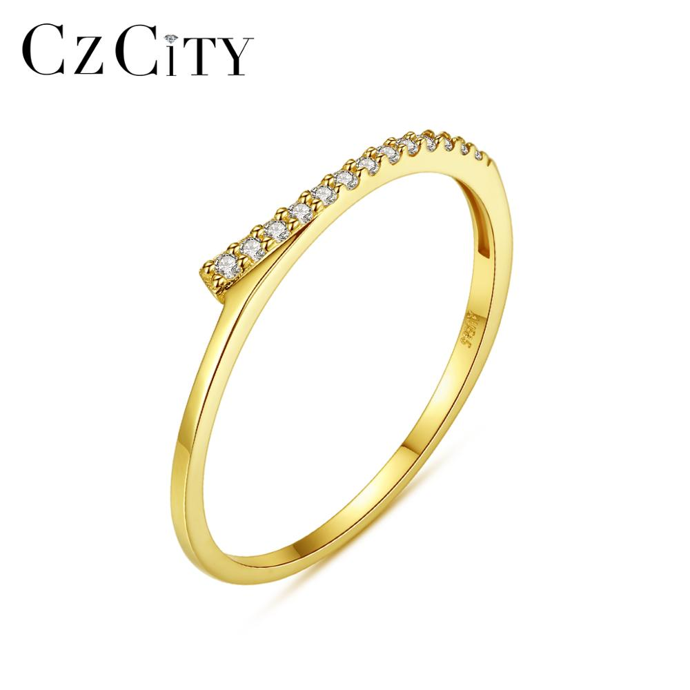 CZCITY Creative Pure 14K Gold Thin Rings For Women Wedding Engagement Paved Micro CZ 14K Yellow Gold Fine Jewelry Au585 R14148