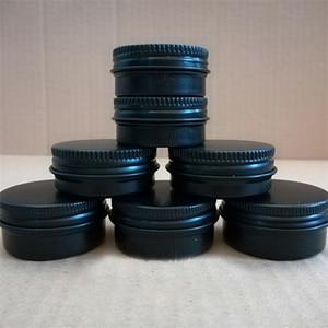 Image 2 - 10/15/30/50/60/80/100/150g refillable box black empty round aluminum box metal tin cans cosmetic cream DIY jar tea Aluminum Pot