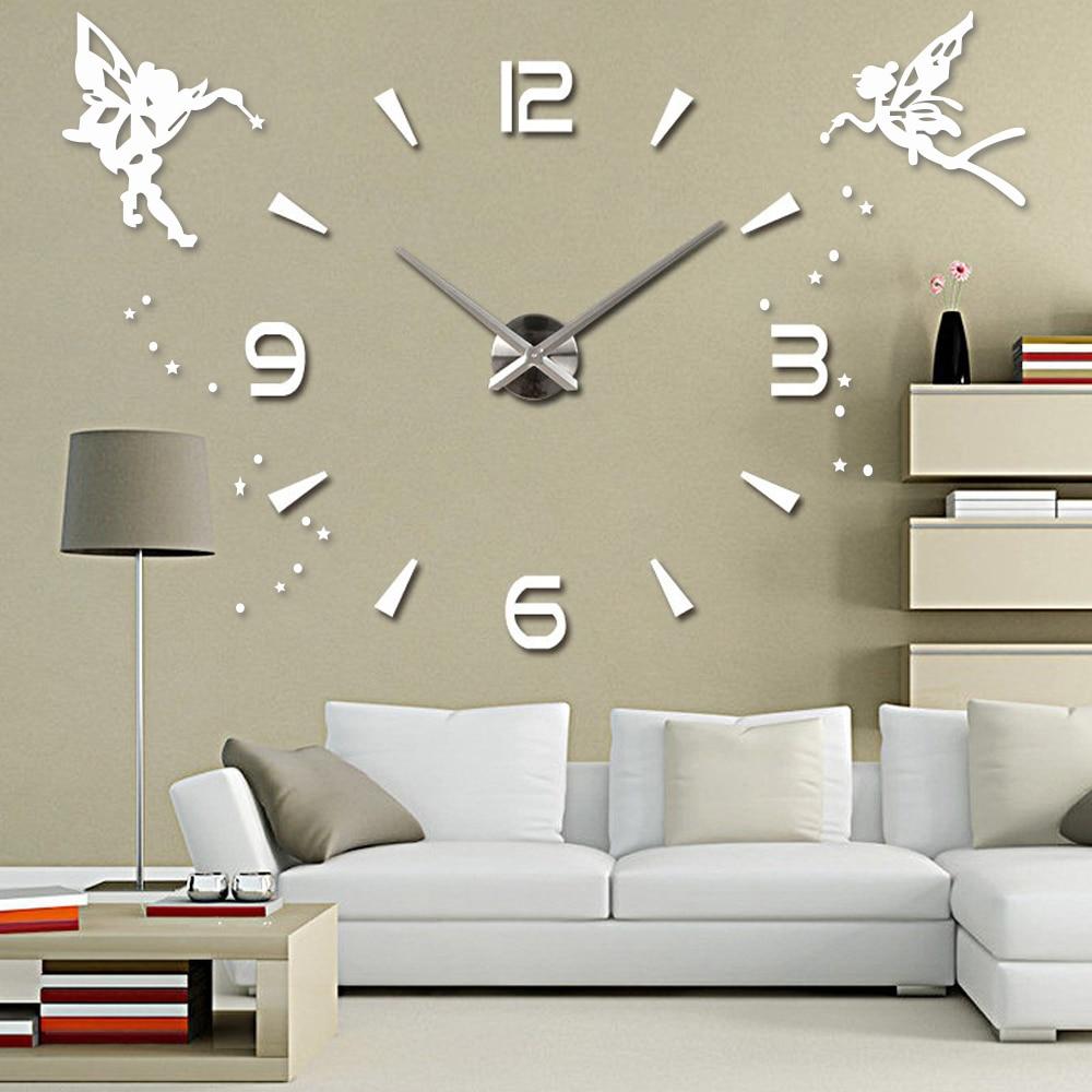 Acrylic Large Wall Clock Sticker Mute 3D DIY Self Adhesive Wall Clock Modern Design Mirror Angel Wall Stickers Home Decor