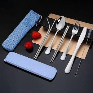 Image 2 - 9pcs/6pcs In Acciaio Inox Set di Posate Argenteria con Paglia di Metallo Caso e Sacchetto di Stoccaggio Bacchette Cucchiaio Set