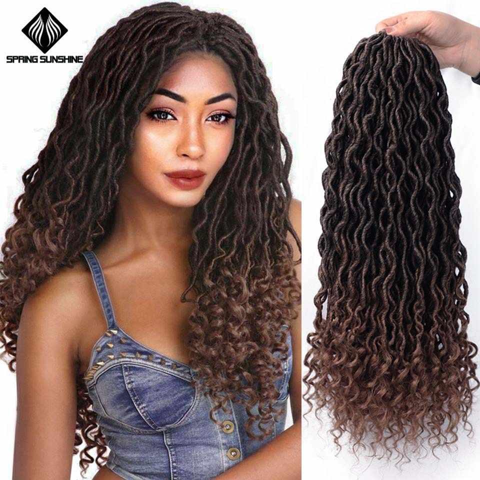 Spring sunshine Faux Locs Crochet trenzas Bohemian Curl Ombre gris trenzado cabello a granel Crochet extensiones de cabello pelo sintético