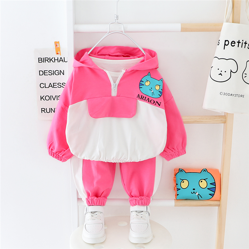 HYLKIDHUOSE 2020 Spring Baby Girls Clothing Sets Cute Cat Hooded T Shirt Pants Toddler Infant Clothes Children Casual Clothing