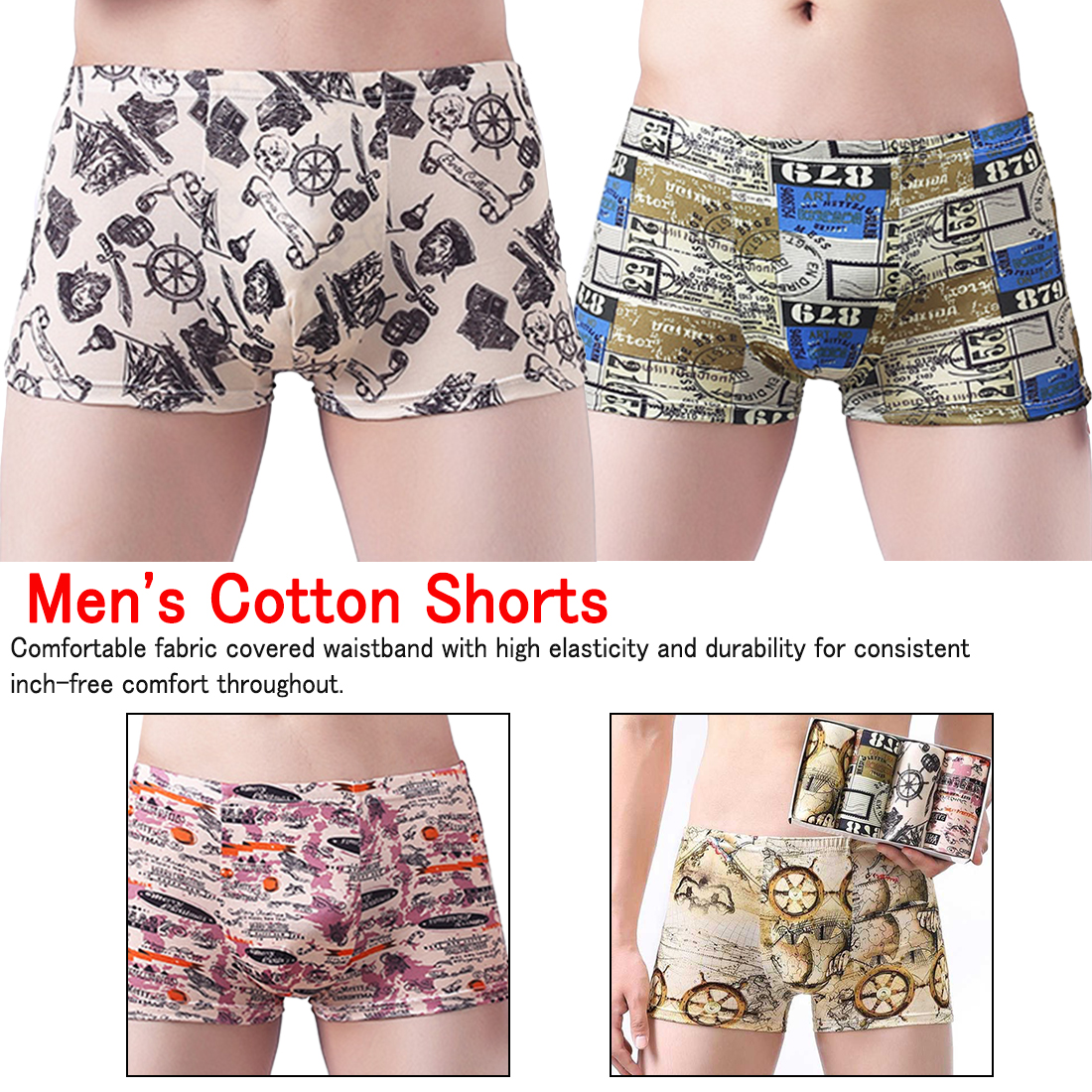 Boxer Underwear Modal Sexy Fashion 4pcs for Men Map Shorts Comfortable Male Soft