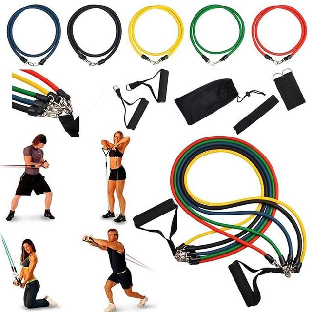 11Pcs Yoga Resistance Bands Pull Rope Set Workout Bands Kit Home Fitness Body Building Stretch Training Workout Equipment Adult