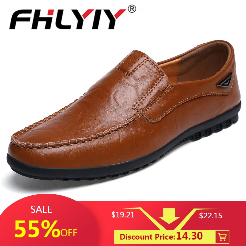 Mens Loafers Flats Driving-Shoes Casual-Shoes Slip On Black Breathable Genuine-Leather