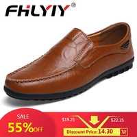 Echtes Leder männer Casual Schuhe Luxus Marke Herren Loafer Wohnungen Atmungsaktive Slip auf Schwarz Driving Schuhe Plus Größe 38 -47
