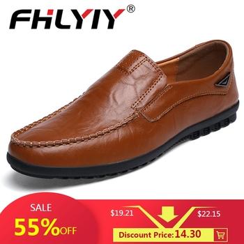Oryginalne skórzane męskie buty na co dzień luksusowe marki męskie mokasyny mieszkania oddychające Slip on czarne buty do jazdy samochodem Plus rozmiar 38-47 tanie i dobre opinie FHLYIY Prawdziwej skóry RUBBER 19714801937-55 Slip-on Pasuje prawda na wymiar weź swój normalny rozmiar Stałe Masaż