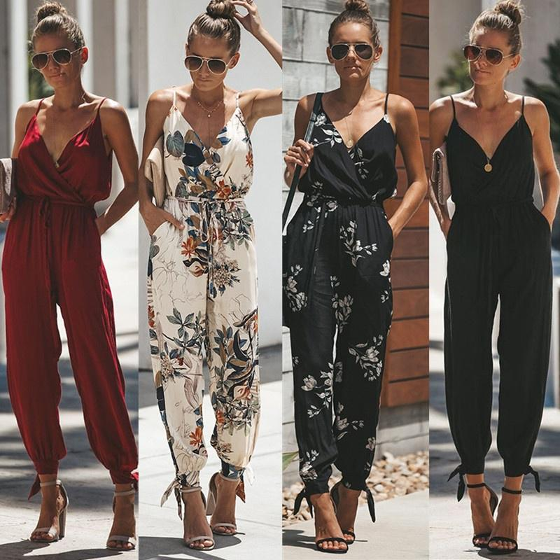 Women Casual Sleeveless V-Neck Jumpsuits 2019 Summer Ladies Boho Floral Bodysuit Wide Leg Loose Long Pants Trousers Plus Size