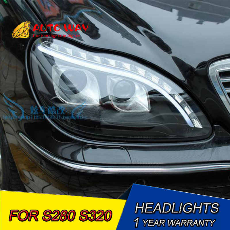 Car Styling Head Lamp case for Benz S280 S320 S500 S600 Headlights 1998-2001 W220 LED Headlight DRL Bi-Xenon Lens HID Double