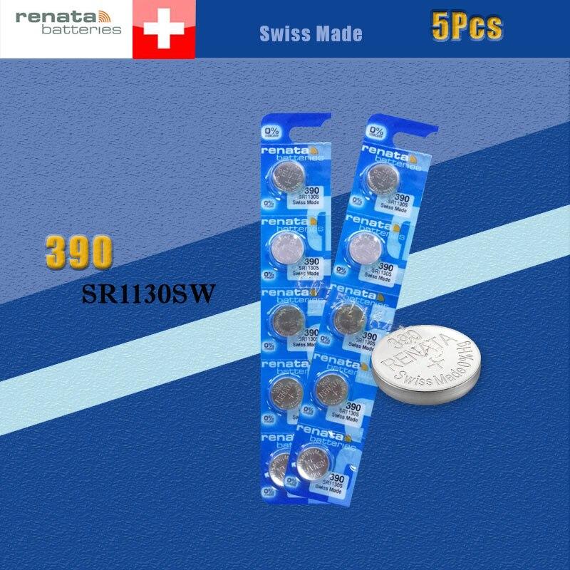 5 X Аккумулятор для часов renata из оксида серебра 390 SR1130SW 1130 1,55 в 100% оригинальный бренд renata 390 renata 1130 аккумулятор